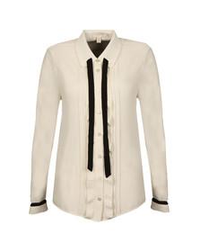 Ted Baker Womens White Kavita Pleated Frill Long Sleeve Shirt