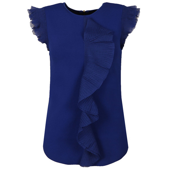 Ted Baker Womens Blue Ysabel Frill Detail Knitted Top main image