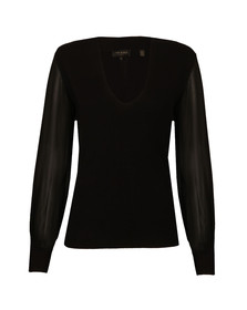 Ted Baker Womens Black Bryanna Silk Sleeve V Neck Jumper