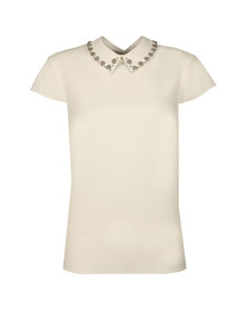 Ted Baker Womens Off-white Tillda Embellished Collar Cap Sleeve Top