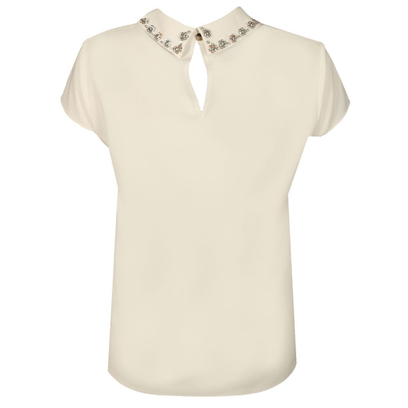 Ted Baker Womens Off-white Tillda Embellished Collar Cap Sleeve Top main image
