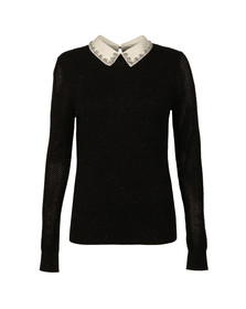 Ted Baker Womens Black Helin Woven Collar Sparkle Jumper