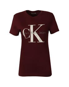 Calvin Klein Womens Red Shrunken T Shirt