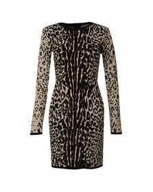 Michael Kors Womens Brown Animal Jacquard Dress