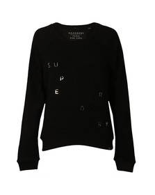 Superdry Womens Black Applique Raglan Crew Sweat
