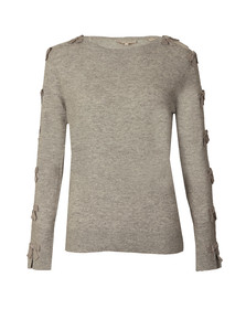 Ted Baker Womens Grey Sakarie Bow Sleeve Detail Jumper