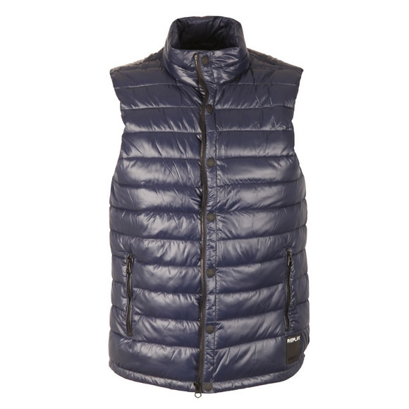 Replay Mens Blue High Callar Gilet main image