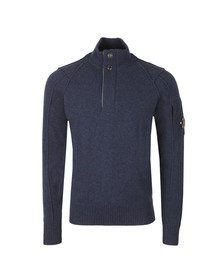 CP Company Mens Blue Half Zip Knitted Jumper