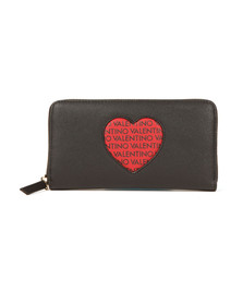 Valentino by Mario Womens Black Love Zip Around Purse