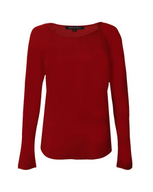 French Connection Womens Red Classic Crepe Light Raglan Long Sleeve Top