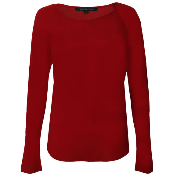 French Connection Womens Red Classic Crepe Light Raglan Long Sleeve Top  main image