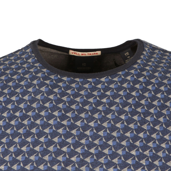 Scotch & Soda Mens Blue Classic Patterned Crew T Shirt main image