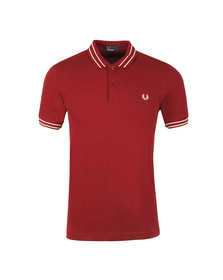 Fred Perry Mens Red S/S Tramline Tipped Polo