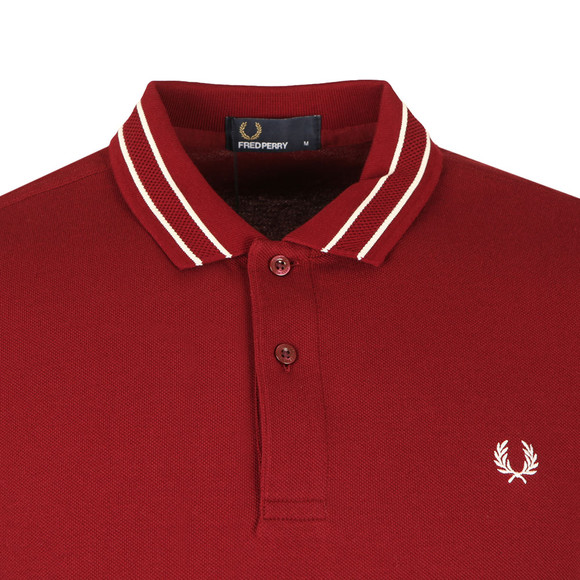 Fred Perry Mens Red S/S Tramline Tipped Polo main image