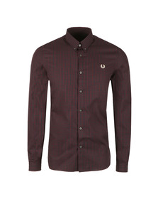 Fred Perry Mens Brown 3 Colour Basketweave LS Shirt