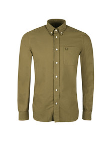 Fred Perry Mens Green L/S Oxford Shirt