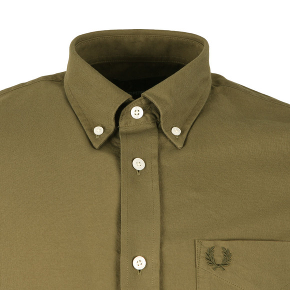 Fred Perry Mens Green L/S Oxford Shirt main image