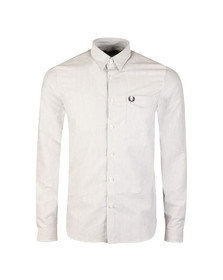 Fred Perry Mens White Oxford Stripe LS Shirt