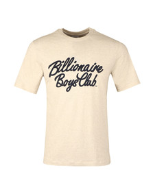 Billionaire Boys Club Mens Beige Flock Script Logo T Shirt