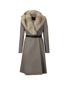 Ted Baker Womens Grey Narniaa Faux Fur Collar Skirted Coat