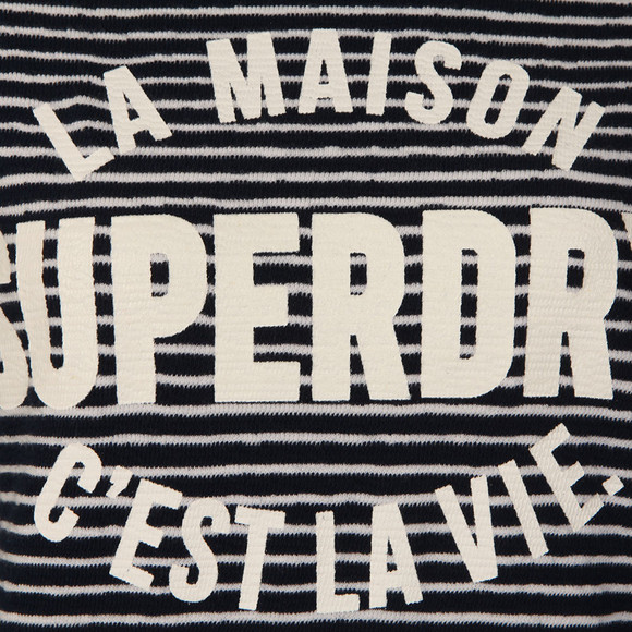 Superdry Womens Blue Amour Stripe Graphic Top main image