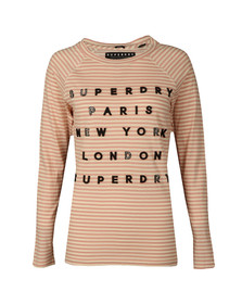 Superdry Womens Pink Applique Raglan Top