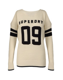 Superdry Womens Off-white Varsity Cold Shoulder Knit