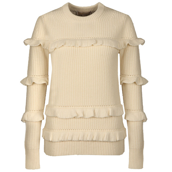 Michael Kors Womens Beige Rib Ruffle Sweater