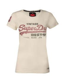 Superdry Womens Beige Vintage Logo Slub Entry T Shirt