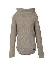 Superdry Womens Grey Lia Cable Cowl Neck Jumper