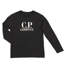 CP Company Undersixteen Boys Blue Large Logo Long Sleeve T Shirt