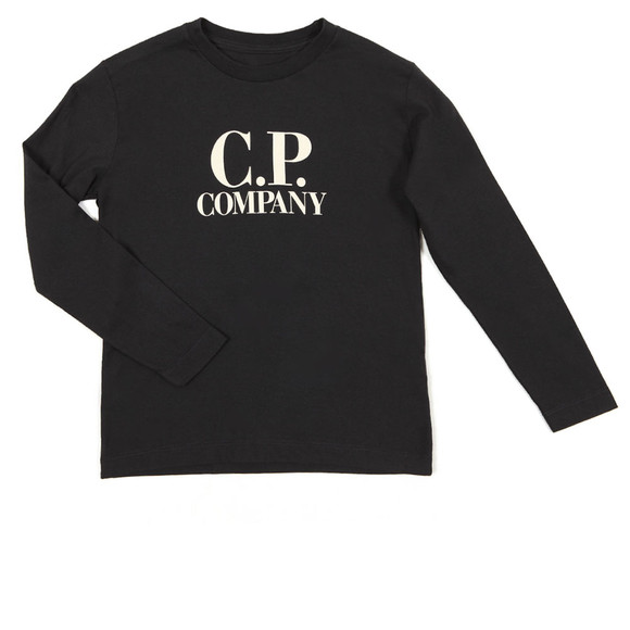 CP Company Undersixteen Boys Blue Large Logo Long Sleeve T Shirt main image