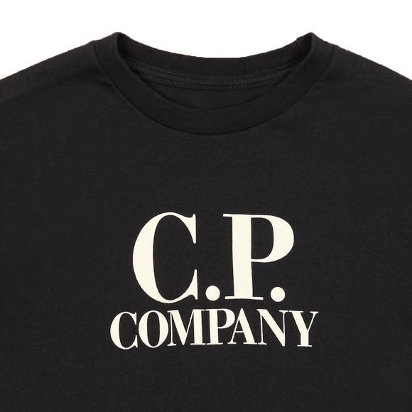 C.P. Company Undersixteen Boys Blue Large Logo Long Sleeve T Shirt main image