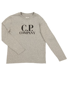 CP Company Undersixteen Boys Grey Large Logo Long Sleeve T Shirt