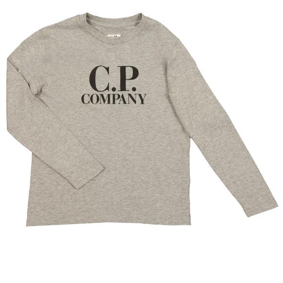 CP Company Undersixteen Boys Grey Large Logo Long Sleeve T Shirt main image