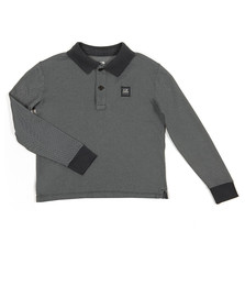 C.P. Company Undersixteen Boys Blue Contrast Collar Long Sleeve Polo Shirt