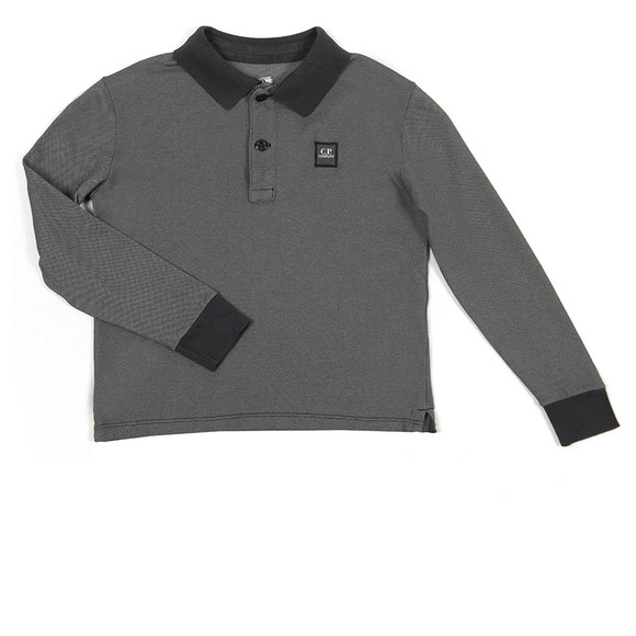 CP Company Undersixteen Boys Blue Contrast Collar Long Sleeve Polo Shirt main image