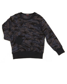 Paul & Shark Cadets Boys Blue Shark Print Camo Sweatshirt