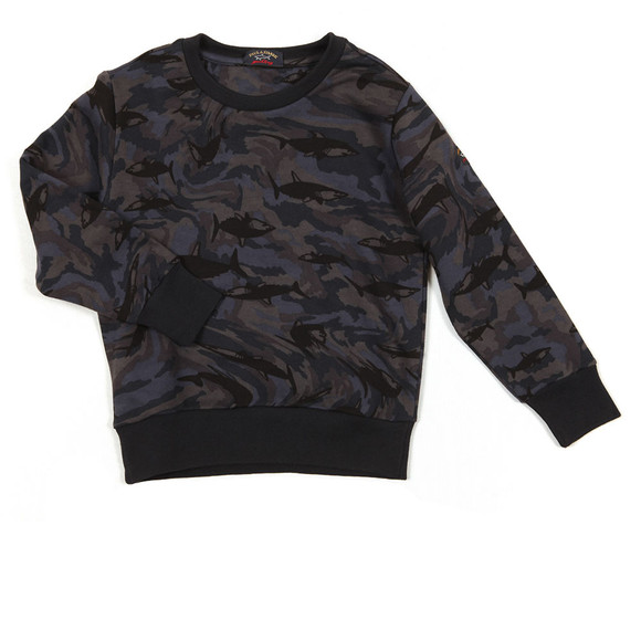 Paul & Shark Cadets Boys Blue Shark Print Camo Sweatshirt main image