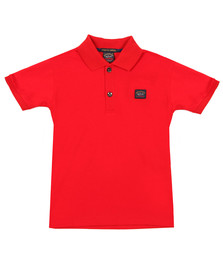 Paul & Shark Cadets Boys Red Plain Polo Shirt