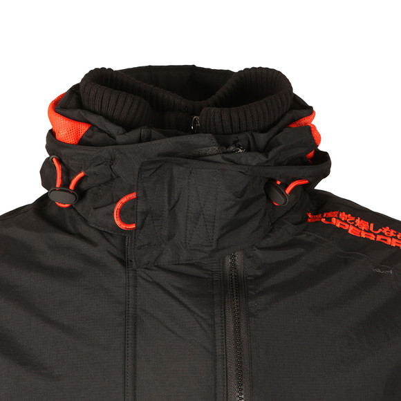 Superdry Mens Black Tech Hood Pop Zip Windcheater main image