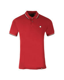 Pretty Green Mens Red S/S Barton Tipped Polo