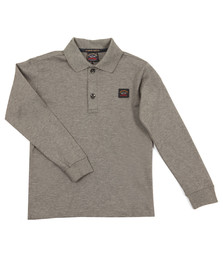 Paul & Shark Cadets Boys Grey Plain Long Sleeve Polo Shirt