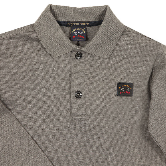 Paul & Shark Cadets Boys Grey Plain Long Sleeve Polo Shirt main image