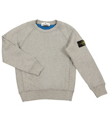 Stone Island Junior  Boys Grey Sleeve Badge Crew Neck Sweatshirt
