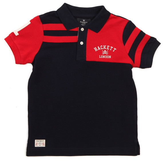 Hackett Boys Blue Stripe PCD Polo Shirt main image