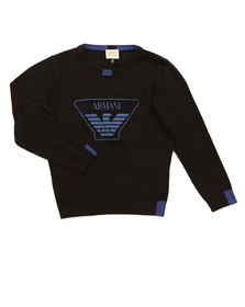 Armani Junior  Boys Black Large Logo Knitted Jumper