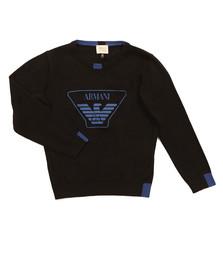 Armani Junior  Boys Black Large Logo Knitted Jumper