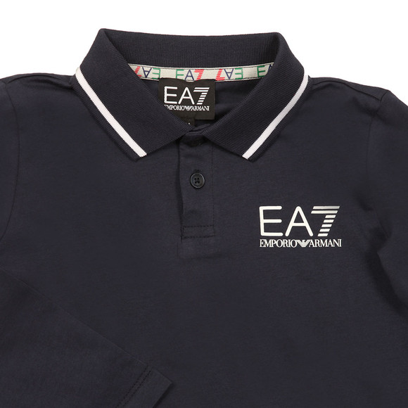 EA7 Emporio Armani Boys Blue Tipped Long Sleeve Polo Shirt main image