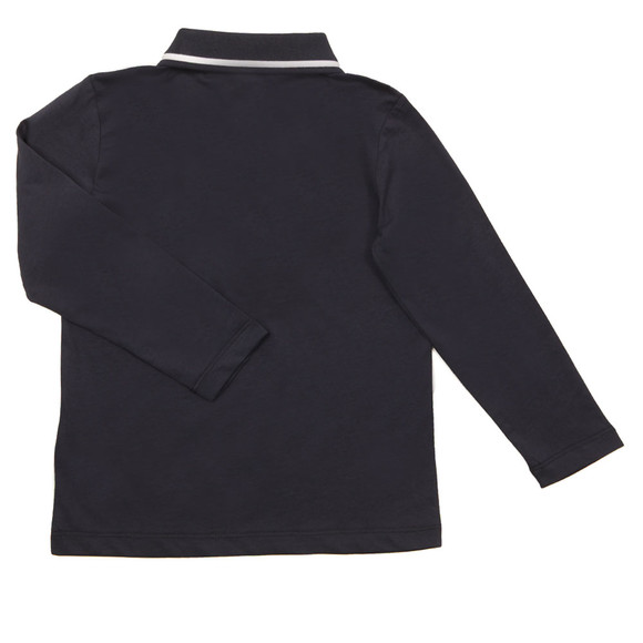 EA7 Emporio Armani Boys Blue Tipped Long Sleeve Polo Shirt main image